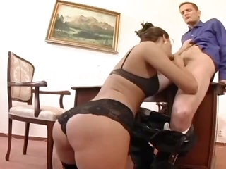 Hairless pussy secretary is hot and fucks hard