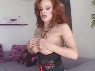 Corset redhead milf sucks dark cock