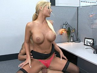 Sexy blond Phoenix Marie cock rides her coworker